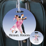 ballroom theme 4 inch round bag tag  both sides shown