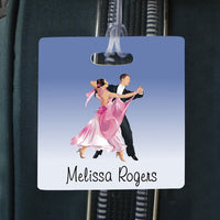 "ballroom dancers and your name on a 3.5"" square bag tag"
