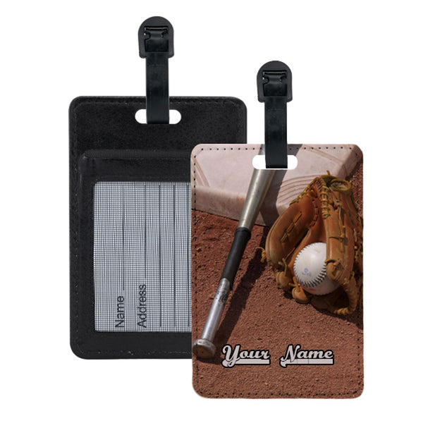 Vegan Leather Luggage Tags with Baseball Gear Image and your Personalized Name. Tag has mesh slot for ID card on back