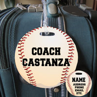Baseball Theme Bag Tags with ball image and name on one side, contact info on the other