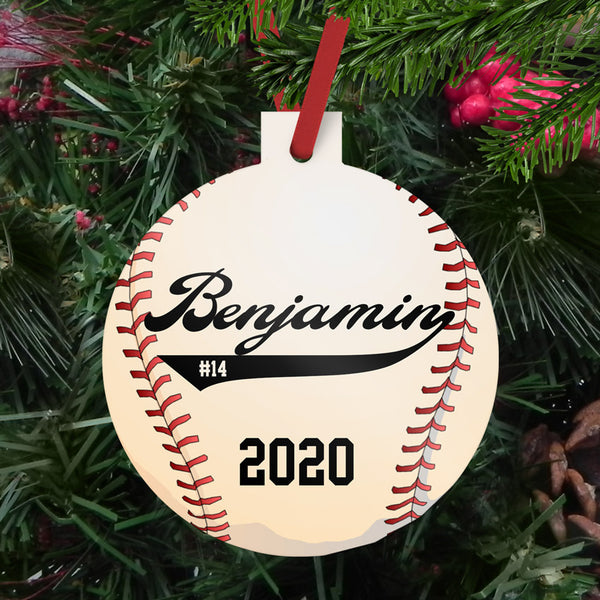 "Baseball illustration on a 3"" reinforced plastic ornament personalized with name, jersey number and year"