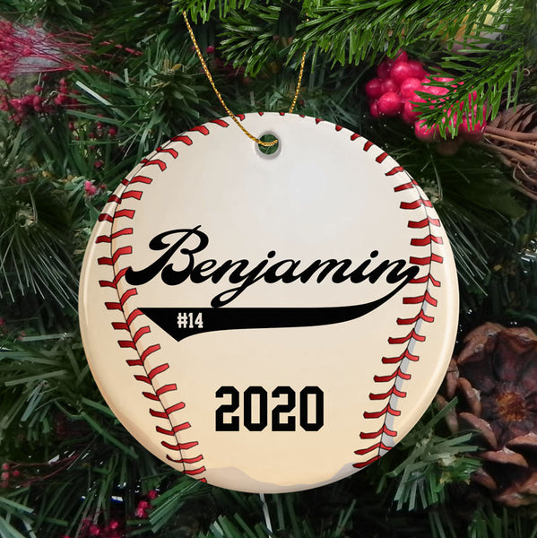 Baseball Personalized Porcelain Christmas Ornament