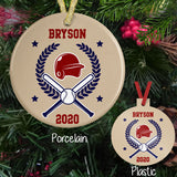 Porcelain and Plastic Baseball Christmas Ornaments with Wreath, Crossed Bats, Ball and Wreath. Personalized with any name and year or jersey number