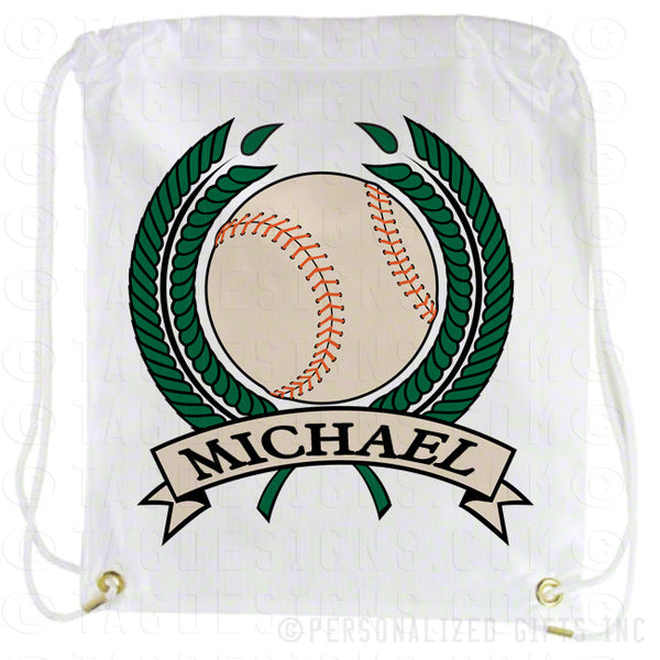 Baseball Draw String Cinch Sack Back Pack Personalized