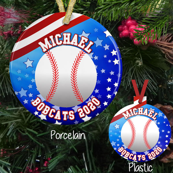 Christmas Ornaments with Baseball Stars and Stripes and custom printed with any name and custom text on porcelain or plastic ornament