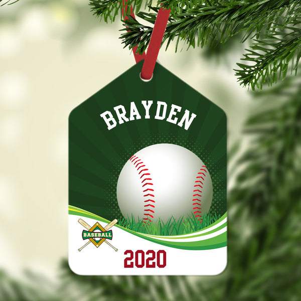Baseball Swirl Gift Tag Christmas Ornament Personalized