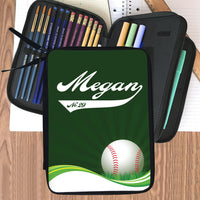 Pencil Case with zpipered compartments Baseball on a swirl wave with any name in baseball style writing and jersey number or custom text in the tail