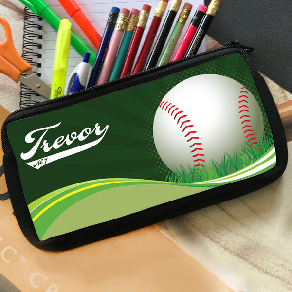 Zippered Pencil Case Pouch with Baseball on a swirl wave with any name in baseball style writing and jersey number or custom text in the tail