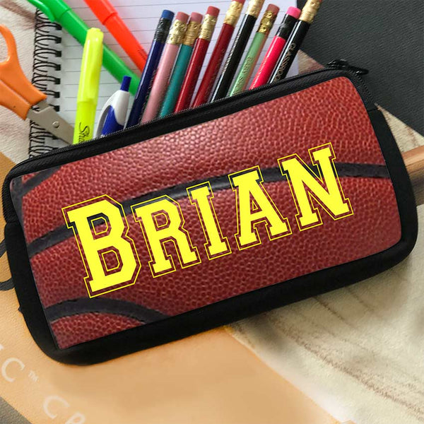 basketball theme pencil case pouch with zipper and personalized with any name in yellow sports font.