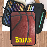 personalized pencil case folder with zippered compartments. Basketball image and any name.