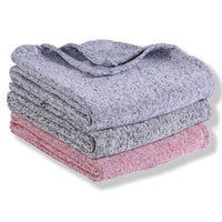 throw blanket offered in Blue, Gray and Pink