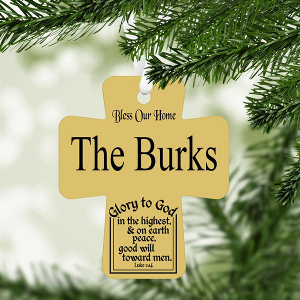 Cross shaped Christmas Ornament Wall Hanging with Luke 2:14 bible verse and your family name