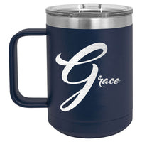 Side 2 of Polar Camel 15oz mug personalized with any name