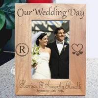 Our Wedding Day Tall Wood Bridal Picture Frame Personalized for Tall Wedding Pictures