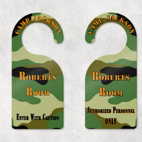 Two Sided printing on camouflage door hanger for enter and do not disturb