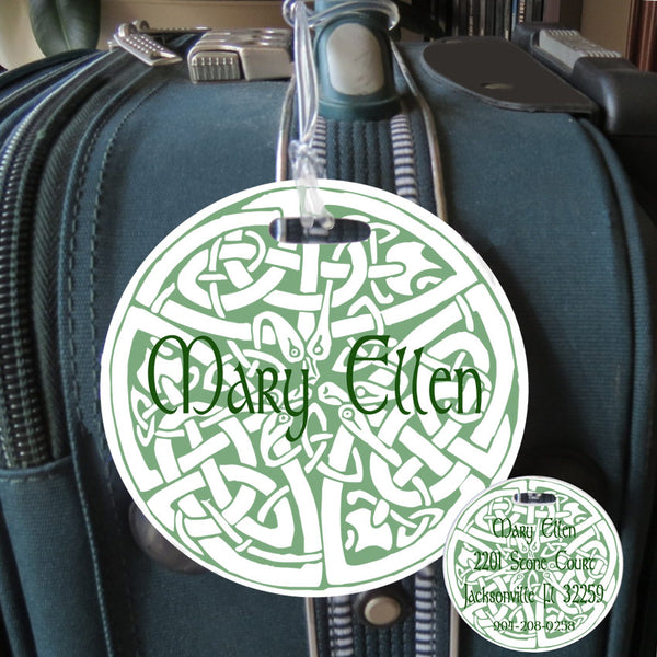 "Round 4"" luggage tag with celtic knot design printed on front side with your name and on reverse side with name and contact info"