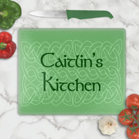 Celtic Knot Glass Cutting Board Personalized with any name