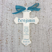 Personalized Ceramic Cross for boys or girls with teal text