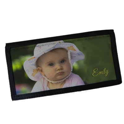 Photo checkbook cover with baby girl photo and name