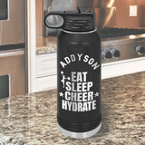 Eat Sleep Cheer Hydrate personalized pink water bottle 32oz hydration flask