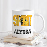 Cheerleader in the word spirit and personalized with any name on a ceramic coffee mug