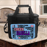 Large Cooler Tote Lunch bag with cheer terms randomly placed and any name prominently placed within the word art terms