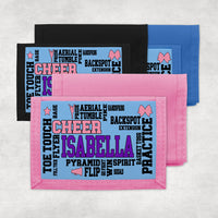 Cheerleading terms randomly placed on one of three colors of wallets and personalized with any name