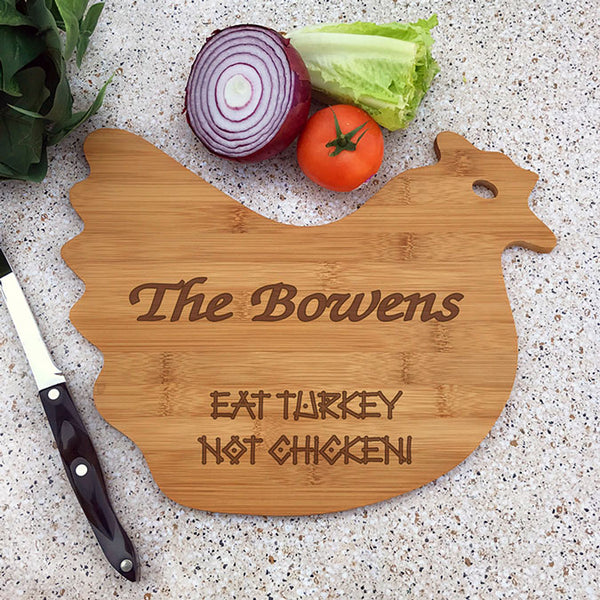 chicken shaped engraved bamboo cutting board
