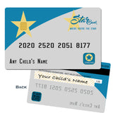 Child's play credit card with fake bank - numbers - etc