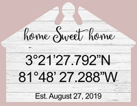 Home Sweet Home Sign Personalized Coordinates Federal House Shaped Sign