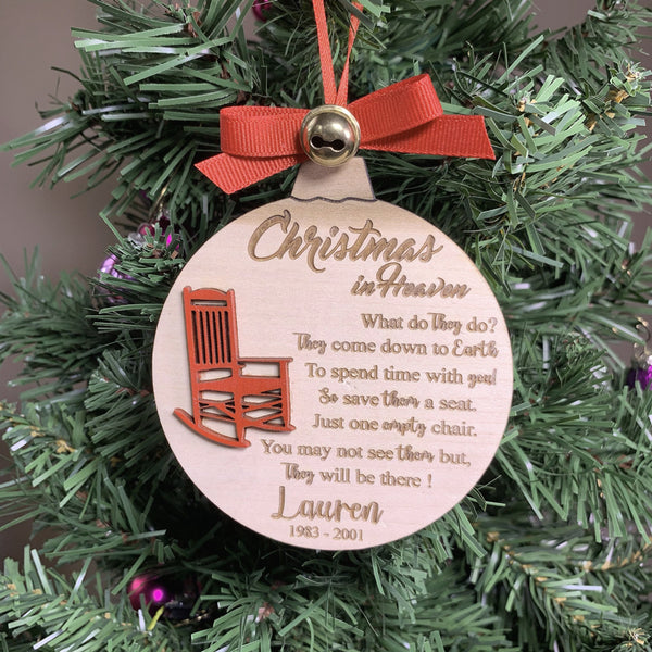 Christmas in heaven  Save a Seat Red Rocking Chair Ornament