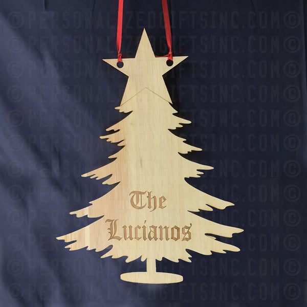 Wood Cut Christmas Tree Door Sign Engraved with any name or custom message