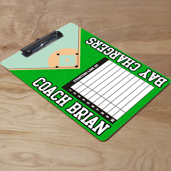 Personalized clipboard with starting line up list for baseball coaches.