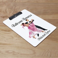 Clipboard with well dressed for ballroom dance couple in dance position looks like quickstep maybe custom text above and below the image