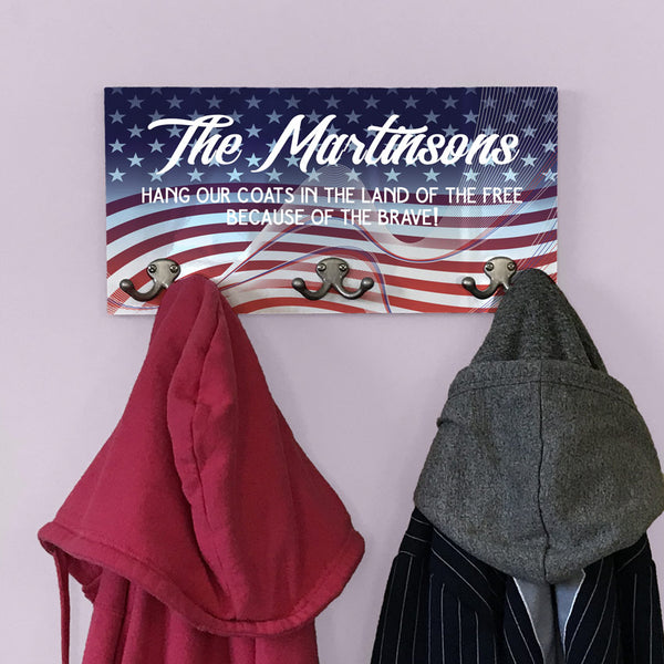 Stars and Stripes Personalized Coat Hanger