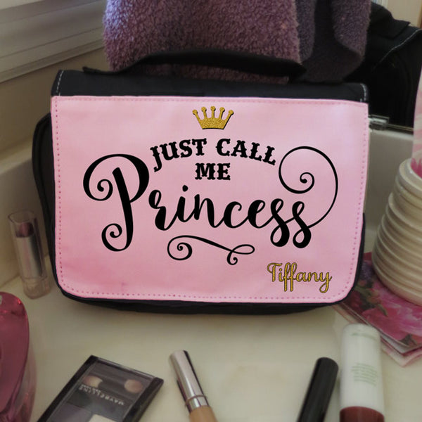 Gold sparkly princess crown with Just Call me Princess design and your name on a travel cosmetic bag