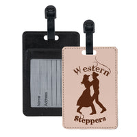 2 step (two step) dancers luggage tags for small groups with dance logos. Contact card slot in back of tag made of printable leather