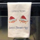 "Personalized Waffle Weave Dish Towels with Elf Heads and Your custom text 16"" x 24"" towels"
