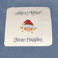 "Elf Hand Towel  13"" x 13"" square with elf head and two lines of custom text"