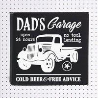 Dad's Garage 10x10 Black Vegan Leather Wall Sign Personalized with any title or name