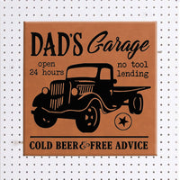 Dad's Garage 10x10 Rawhide Vegan Leather Wall Sign Personalized with any title or name