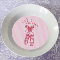 12ounce bowl with pink striped background, cartoon but pretty dance slippers and name in deep pink colors