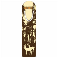 "wilderness scene of trees, a buck and doe on a 1.25"" x 5"" bookmark"