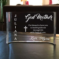 Personalized Clear Acrylic Godmother Thank you Plaque
