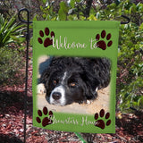 your pet on a garden flag.  You may request paws, claws and borders around your photo