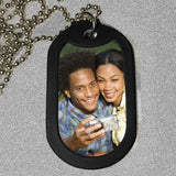 where dog tags with your favorite selfie or photo of you and your hunny.