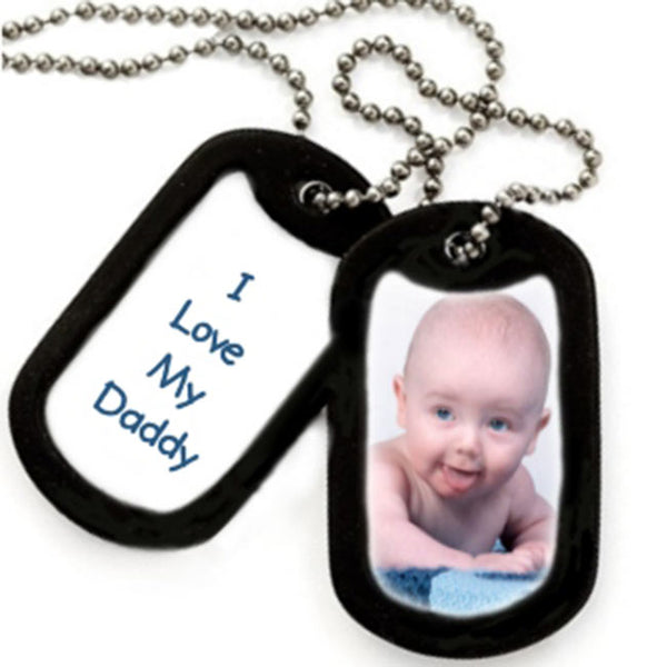 side 1 & 2 photo dog tag with baby photo on side 1 and I love my daddy on side 2