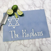 Shield of David Personalized Glass Cutting Board