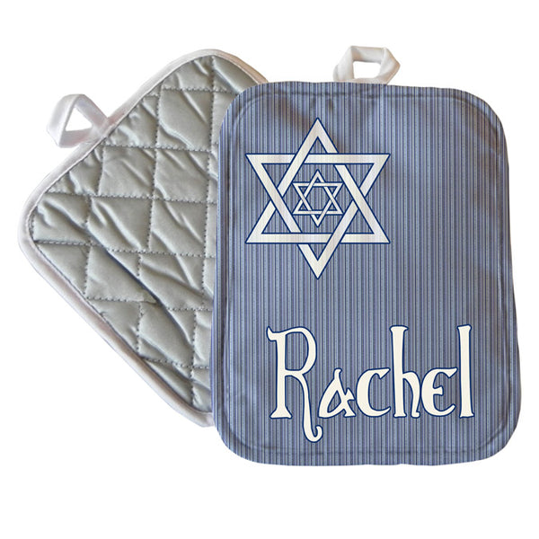 "Personalized Shield of David design on a 7"" x 9"" custom pot holder with any name or custom text"