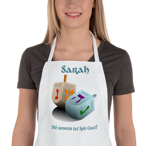 Personalized Dreidel Apron with any name a second line of text such as Did Someone Say Spin Class? can be personalized too